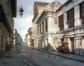 Antique Buildings With A Street 3D