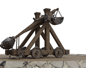 animated Detailed Catapult Model - Rigged and