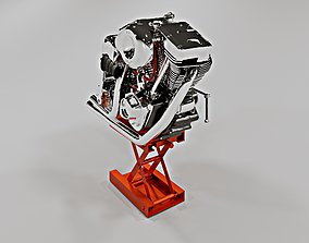 Harley Davidson V-Twin Evolution engine 3D asset