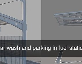 3D model Carports for car wash and parking in fuel