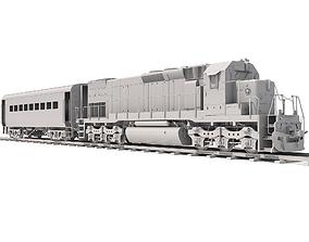 3D Locomotive Train with Wagon