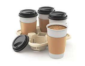 3D model Takeout Coffee Cup with Lid and Holder