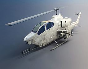 3D Camouflaged Military Attack Helicopter
