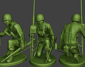 3D printable model American engineer soldier ww2 Crouch2