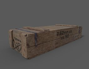 VR / AR ready AK-47 wood box 3D model
