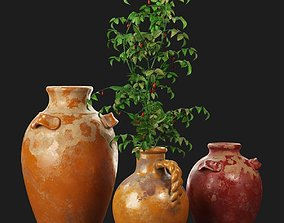 3D model Pottery Barn Sicily Terra Cotta Vases