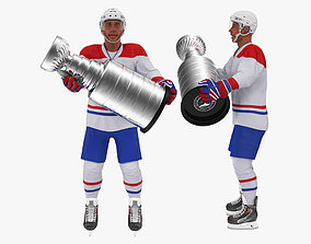 Hockey Player with Stanley Cup Trophy Rigged 3D model 2