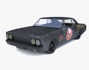 Black damaged car 3D