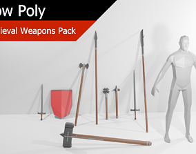 Low Poly Medieval Weapons Pack 3D asset