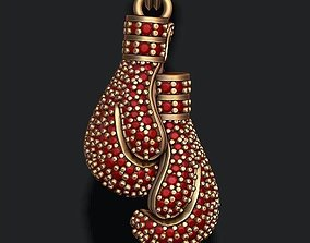 boxing gloves pendant with gems 3D print model