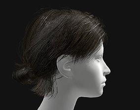 VR / AR ready 3D Hair Female Short Ponytail Hairstyle