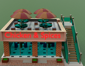 3D printable model Restaurant exterior with interior