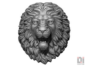 3D print model Angry Lion animal head round base