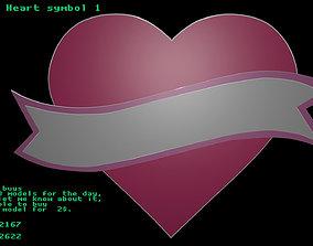 3D asset Low poly Heart symbol 1