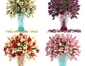 Collection of bouquets of tulips 3D model