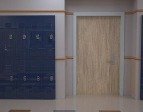 3D School HallWay GameReady