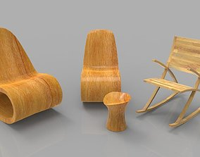 3D model Rocking Wooden Chair Collection