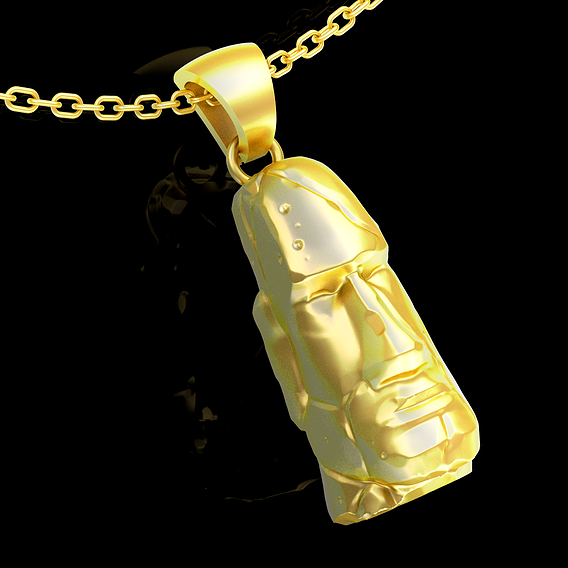 Stone head pendant jewelry gold necklace