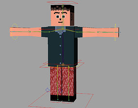 Mine craft style low poly rigged character for 3D model