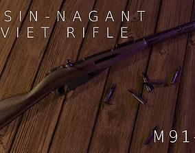 Mosin-Nagant Soviet 91 59 Carbine Rifle 3D model