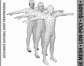 3D model Male Low Poly Base Mesh in T-Pose