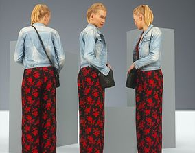 3D asset Blonde in Red Flower Pants and Jeans Jacket
