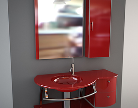 3D Glass wash-basin with cabinets mirror and lamp - 1
