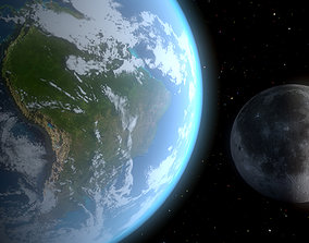 3D Scifi Earth and the Moon