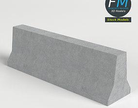 3D PBR Concrete road barrier