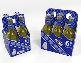 4 Pack and 6 Pack 330ml Beer Carriers 3D