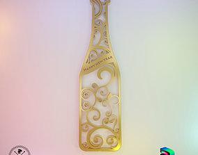 3D Ornament - Happy New Year Wine Bottle
