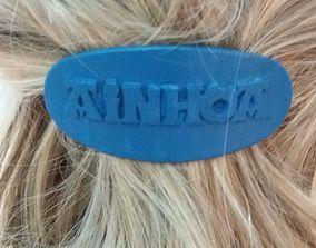 3D print model AINHOA Personalized Oval Hair Barrete