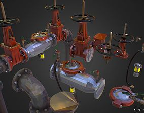 Low Poly ART Backflow Water Pipe Constructor 3D asset