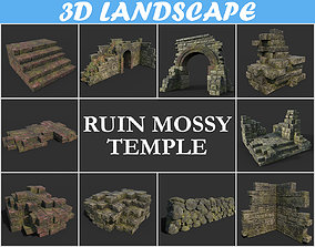Low poly Mossy Ruin Block 181119 3D asset