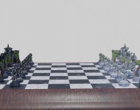 3D model Glass Chess Set Wooden Board
