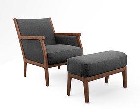 3D model De la Espada Mira Lounge chair and ottoman