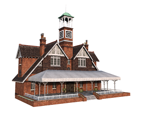 3D model low-poly Building Old