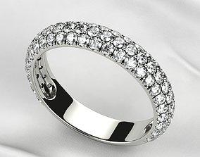 Pave Gems Wedding Gold Ring 3D printable model
