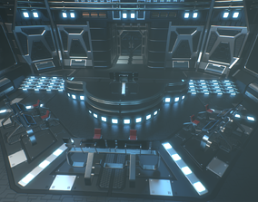 Lowpoly Scifi Control Room 3D model