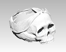 3D printable model printable Wings skull ring