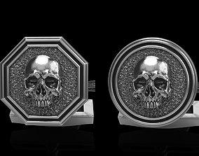 skull cufflinks 2 3D model ring