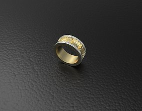 Ring with gears diamond 3D printable model