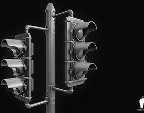 3D Traffic Signal Lights - High Poly