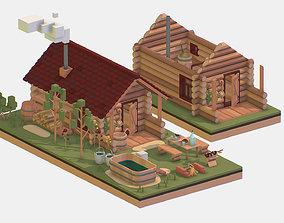 3D asset Isometric Russian Village Bathhouse Bath