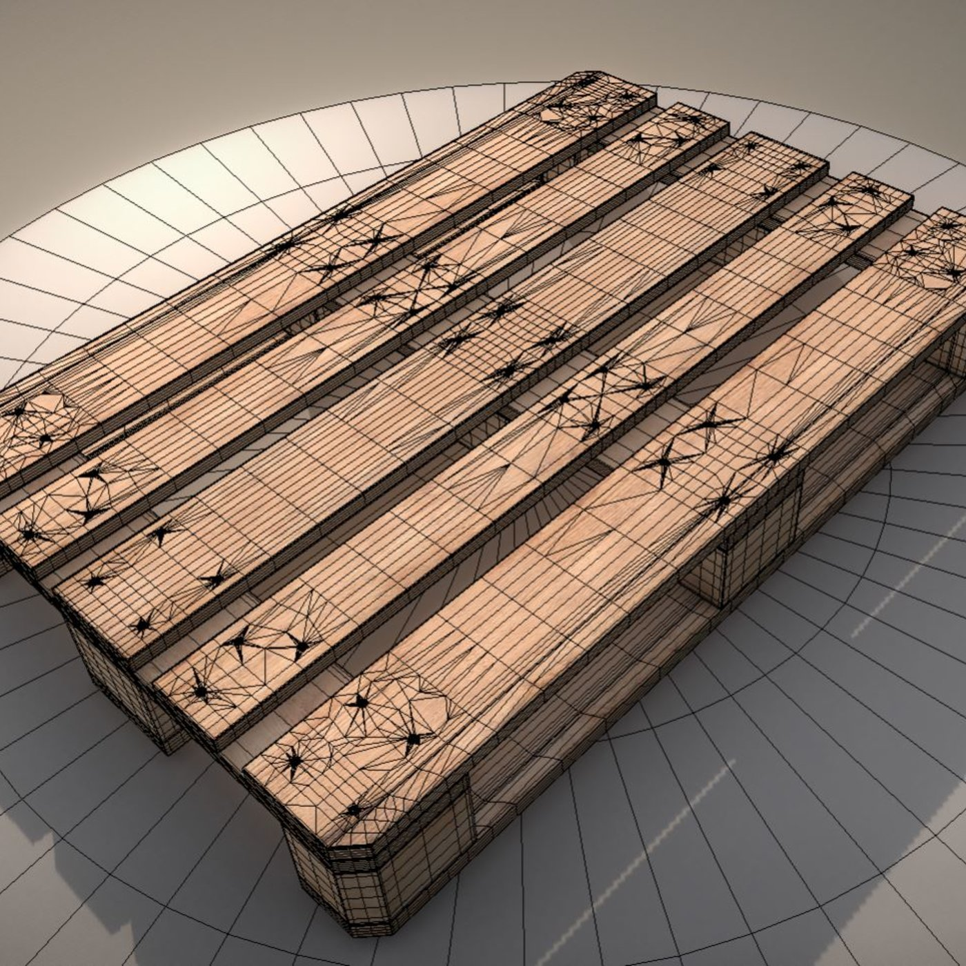 EUR Wood Pallet  High-Poly Version