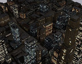 LOWPOLY NIGHT CITY 3D asset