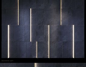 3D asset stone wall with illuminated metal inserts PN20