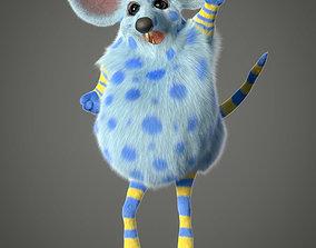 3D Xgen cartoon rat character project with all files