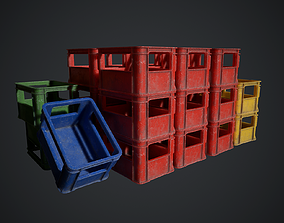 3D model low-poly Plastic crate