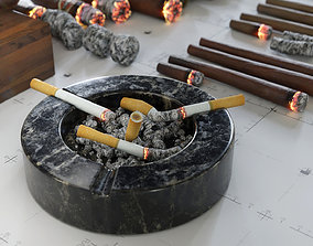 Cigars Cigarettes Joints Blunts and Ashtrays - low-poly 3